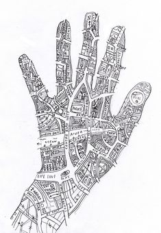 Know your town (like the back of your hand) by johnefrench, I like the simple black and white line drawing, and the quirky shape of the map makes it a strong but effective piece which has been ordinarily created Hand Kunst, Art Carte, Stoff Design, Drawn Art, Collage Vintage, Vintage Maps, Identity Art, A Level Art, Gcse Art