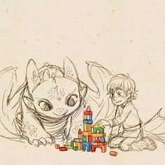 baby toothless and hiccup :)