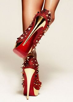 Trend: studs & spikes.  Christian Louboutin  150mm Platform Red Pumps...