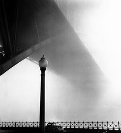 """yama-bato: """"  Morning mist, Sydney Harbour Bridge from Millers Point by Max Dupain """""""