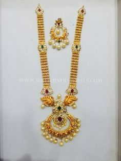 Gold Pachi Haram Design From Nakoda Jewellery ~ South India Jewels Gold Bangles Design, Gold Jewellery Design, Pearl Necklace Designs, Gold Jewelry Simple, Jewelry Model, Schmuck Design, Bridal Necklace, Necklace Set, Floral