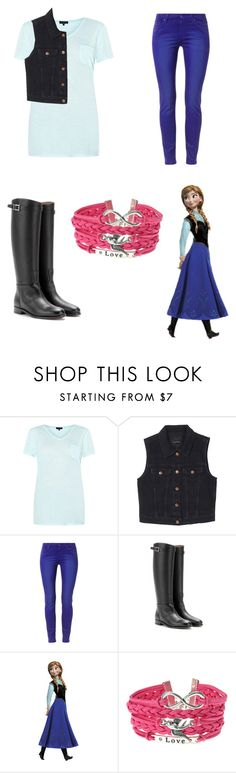 """""""Modern day Anna"""" by meggykl-percy-jackson ❤ liked on Polyvore featuring Monki, 7 For All Mankind, Valentino, Disney, modern, women's clothing, women, female, woman and misses"""