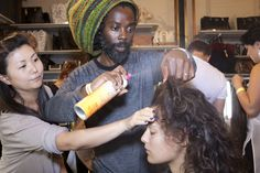 Johnnie using Fun Times hairspray for flexible hold at Rihanna For River Island