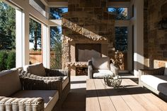 """Architects—Kenwood Shingle Style Cottage: The outdoor living area retains the scale of the home, so, rather than leftover lawn, it becomes another """"layer"""" of the house. Outdoor Living Areas, Outdoor Spaces, Outdoor Decor, Residential Architecture, Architecture Design, Porch Architecture, Traditional Porch, Traditional Exterior, Traditional Kitchen"""