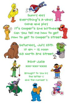 Sesame Street invitations-help please! - The DIS Discussion Forums - DISboards.com