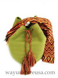 Green  Wayuu Bag ~ Authentic Wayuu Mochila Bags Crossbody 11 in.H x 9 in. W  ~  strap drop 20 in.