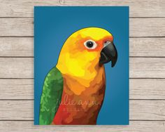 Jenday Conure Art Print, Jenday Painting, Jendaya Conure, Sun Conure, Conure Painting, Bird Gift, Parrot Memorial, Parrot Gift, Conure Gift by JulieAnnStudios on Etsy