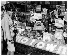 Music store window in Soho, London. 1965