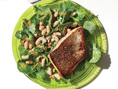 5 Foods to Boost Your Brain Power—and the Recipe That Contains Them All   Salmon with Kale, Walnut and White Bean Salad