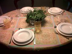 Hermes table cloth, late 60s Wedgwood dishes, 60s Baccarat Cristals and 50s Chinese vase with ivy and watercress