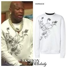 Herrenmode-Flash: Birdman The Breakfast Club Versace-Schlangen-Motiv abstrakter Druck Sweatshirt - http://dasmode.net/herrenmode-flash-birdman-the-breakfast-club-versace-schlangen-motiv-abstrakter-druck-sweatshirt/