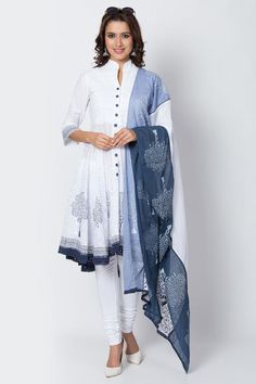 Buy Online White And Blue Cotton Asymmetric Suit Set for Women & Girls at Best Prices in Biba India Cocos Island, St Vincent Grenadines, Mariana Islands, Pitcairn Islands, British Indian, Faroe Islands, Trinidad And Tobago, Uganda, Churidar