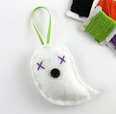Felt Ghost Halloween Ornament Cute Embroidery Hand Stitched. via Etsy.