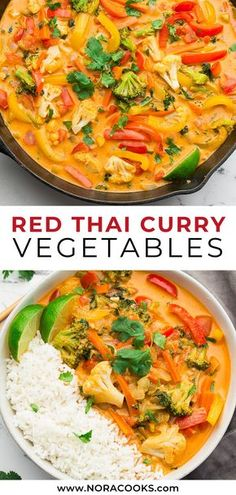 This Vegan Thai Red Curry tastes better than anything you& get from a restaurant, and is totally customizable depending on what vegetables you have on hand. Ready in about 30 minutes. Vegan Thai Curry, Thai Curry Recipes, Tasty Vegetarian Recipes, Vegetarian Curry, Vegan Dinner Recipes, Vegan Dinners, Veggie Recipes, Indian Food Recipes, Cooking Recipes