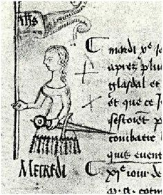 The first surviving image of Joan of Arc, sketched by the secretary of the Parliament of Paris,Clément de Fauquembergue, on May 10, 1429, after Paris received word of Joan's victory at Orleans. He had never seen her in person.