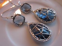 Sapphire Earrings Charcoal Square Two Tier  Sterling by laalee, $39.00