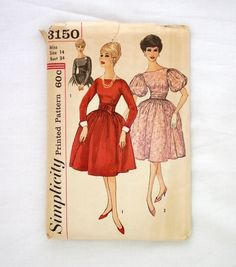 Vintage Simplicity 3150 size 14 uncut dress pattern 1960s sewing pattern bust 34…