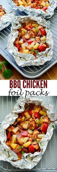 These foil packs are filled with bbq chicken, veggies and pineapple. SO GOOD!