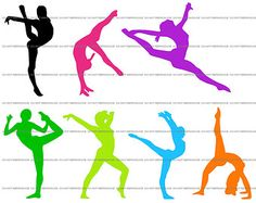 Gymnastics/Dance/Gymnast Clip Art - 7 Silhouettes (Rainbow/Neon Colors)-Digital-INSTANT DOWNLOAD