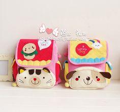 Free Shipping Kawaii Cartoon Cat&Dog Cotton Fabric Children's School Bag Kindergarten Backpack Retail(China (Mainland))