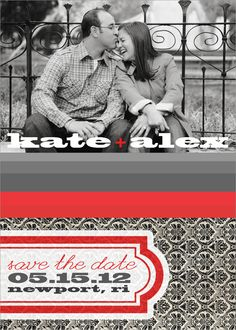 save the date magnets, red and grey save the dates, magnet save the dates via party box design