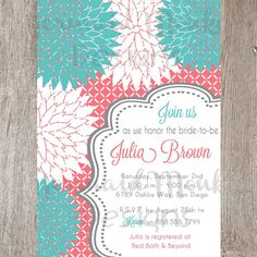 Printable Bridal Shower Invitation  Potentially way cheaper than having them printed somehwere else. I know that sending them via email is free, but there's just something about getting an invitation in the mail!