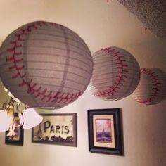 Baseball Themed Baby Shower: Paper Lantern Baseball Decor