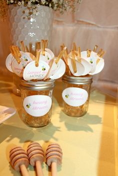 Sweet favors at a Mommy to Bee Baby Shower! See more party ideas at CatchMyParty.com!