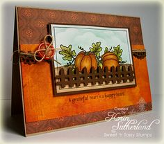 Autumn Bounty Clear Stamp Set - Sweet 'n Sassy Stamps Fell in love with this card... what a cute fence, too! ... V