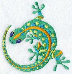 Caribbean Lagarto Lizard Gecko Embroidered by EmbroideryEverywhere