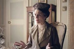 Here is the Dowager Countess's friend Lady Shackleton, looking just as confused as I am about why she is wearing a bird's nest on her head. (Screengrab: PBS/Masterpiece).
