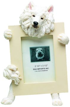 Samoyed Picture Frame Holds Your Favorite 2.5 by 3.5 Inch Photo, Hand Painted Realistic Looking Samoyed Stands 6 Inches Tall Holding Beautifully Crafted Frame, Unique and Special Samoyed Gifts for Samoyed Owners -- Read more  at the image link.