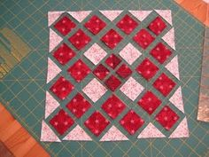 This block has quite a few 1/2 square triangles along the edge. I really didn't want to leave the square with all sorts of biased edges exp...