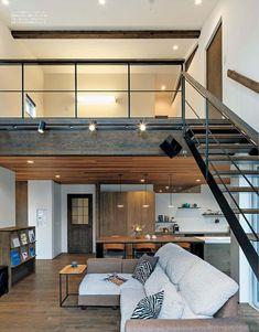 loft bed staircases and designs with various functiona Loft Interior Design, Loft Design, Modern House Design, Design Room, Loft Apartment Decorating, Loft Interiors, Loft Style, House Rooms, Interior Design Living Room