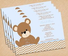 bear baby shower invites | Chevron Print and Teddy Bear Baby Shower Invitations Boy ...
