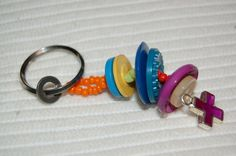Button Key Chain - wonder if we could design a chalice out of stacked buttons and beads...