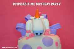 Despicable Me party - fluffy unicorn cake & lots of other ideas.