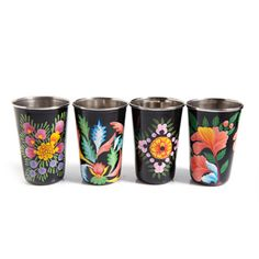 floral painted cups