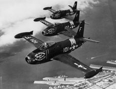 """gazingskywardtv: """" This Day in Aviation History September 11th, 1946 First flight of the North American FJ-1 Fury. The North American FJ-1 Fury was the first operational jet aircraft in United States Navy service, and was developed by North American..."""
