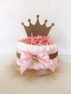 Princess Mini Diaper Cake in Pink and Gold, Princess Baby Shower Centerpieces by AllDiaperCakes on Etsy https://www.etsy.com/listing/231401469/princess-mini-diaper-cake-in-pink-and