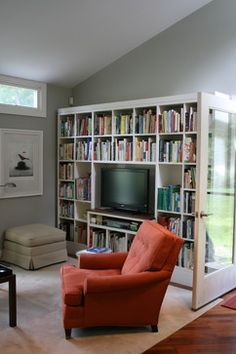 Hmm . . . . in a neutral brown template. I do need more room for books/more books    Flat Screen TV Entertainment Center Design Ideas, Pictures, Remodel, and Decor - page 6