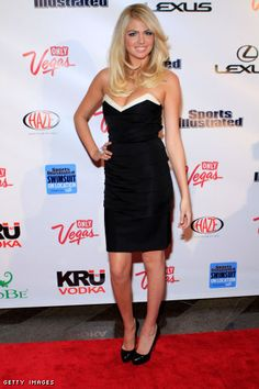 Kate Upton Celebrates Her SI Cover on the Red Carpet in a Cleavage Baring Little Black Dress