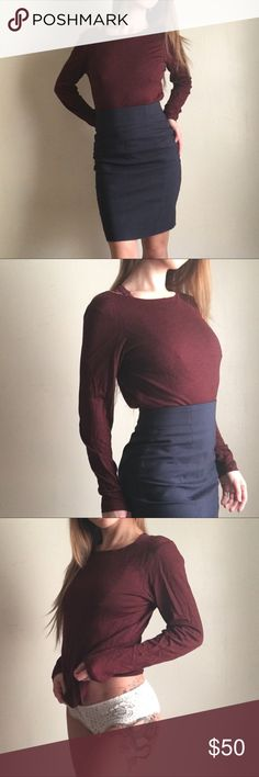 Maroon Long Sleeve Shirt Negotiable Excellent condition Super soft plain shirt that you can wear for any occasion Long enough to be tucked in, but short enough to just wear casually Thin enough to keep cool during spring, but warm enough for fall and to layer LK Bennett Tops Tees - Short Sleeve