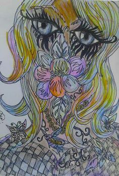 as she hides among the flowers mixed media