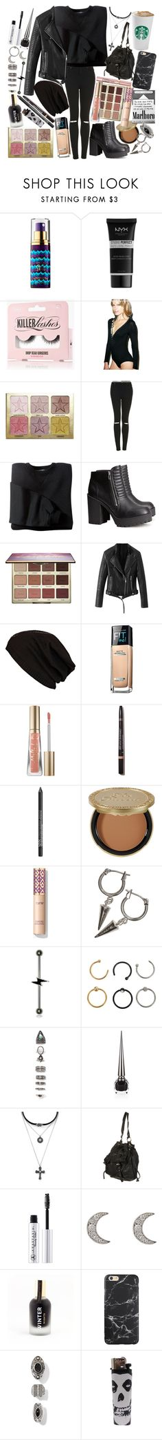 """""""If revenge is for the weak, I guess I'm getting somewhat stronger. There are still a few things I can't swallow, but I'll take care of those tomorrow"""" by thelyricsmatter ❤ liked on Polyvore featuring tarte, NYX, Honey Punch, Topshop, H&M, River Island, Maybelline, Too Faced Cosmetics, L'Oréal Paris and Hot Topic"""