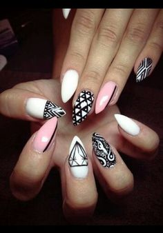 Pink Black and White Stiletto Nails :: I LOVE the tribal and paisley nail art!!