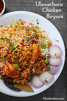 Authentic Andhra Ulavacharu Chicken Biryani recipe made in restaurant style.this is the most popular recipe in Andhra and Hyderabad which is served. Tajin Recipes, Rice Recipes, Dessert Recipes, Biryani Chicken, Indian Appetizers, Indian Snacks, Cooking Basmati Rice, Indian Food Recipes, Ethnic Recipes