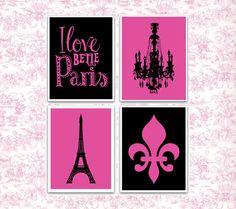 I Love Paris Poster Giclee Print Belle Art Eiffel Tower Wall Decor Fleur De Lis S Room French Bedroom Hot Pink Black