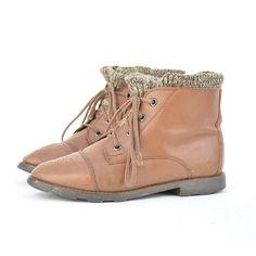 size 65 vintage brown leather SOCKS boots by santokivintage, $55.00