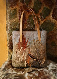 """Felted bag   Купить Сумка """"Гербарий"""" - бежевый, рисунок, растительный, травы, природный, эко, серый, светло коричневый"""